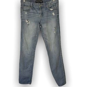 express jeans ankle skinny stella low rise denim pants Distressed Light Wash